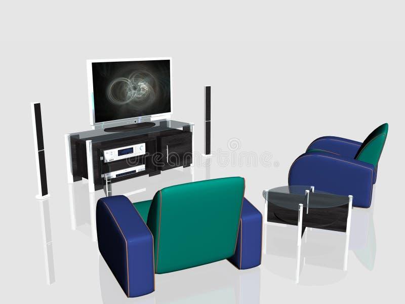 Download Media Center, Plasma Screen In Living Room Stock Illustration - Image: 1392783