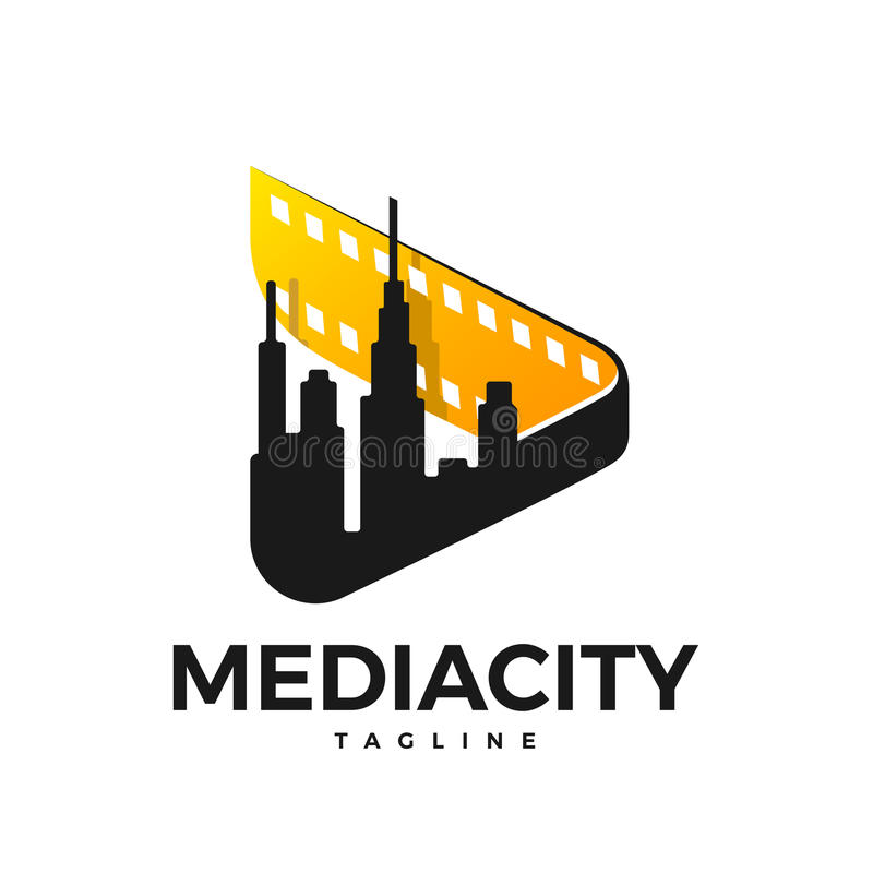 Media city logo. Media logo in the form of a sign play with a film and a city in the inside vector illustration