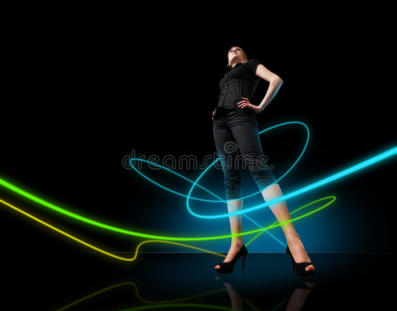 Media collection - Glowing lines girl royalty free stock photography