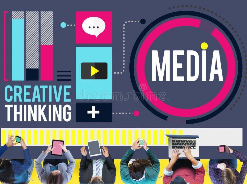 Media Communication conecta o conceito do pensamento criativo ilustração stock