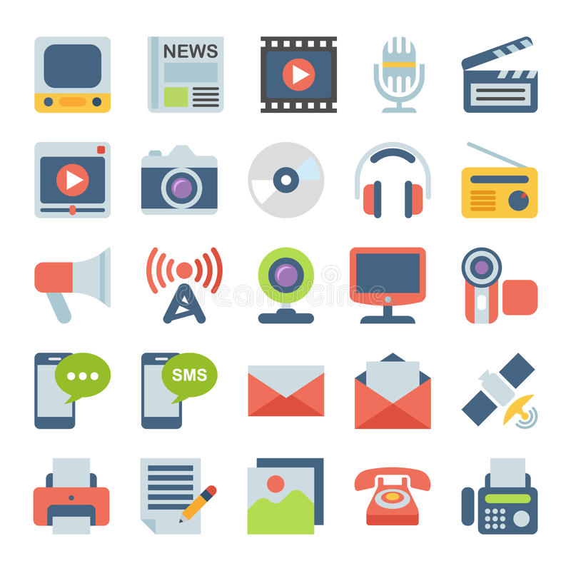 Media and Communication Flat icons.  vector illustration