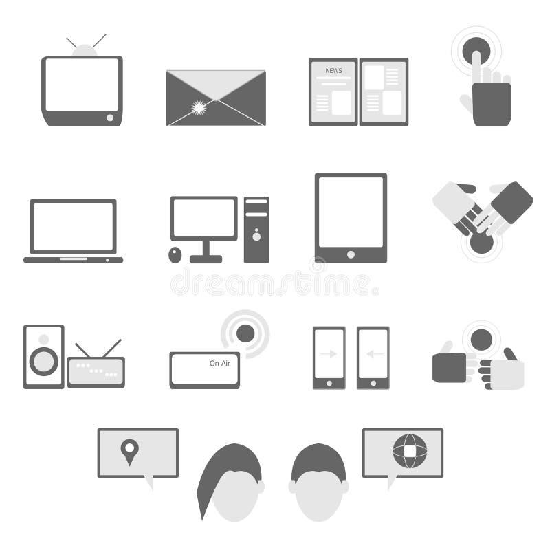 Media And Communication Icons On White Background Royalty Free Stock Photos