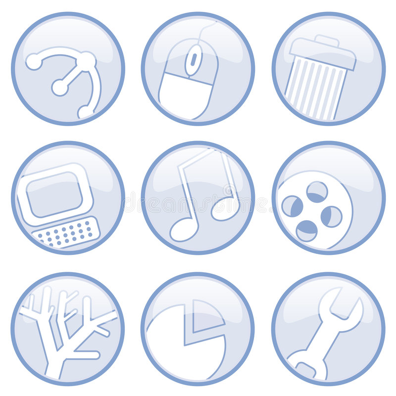 Media And Computer Icons stock illustration