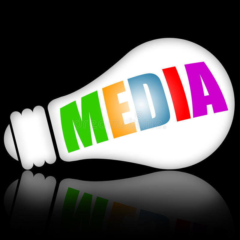 Media concept. With bright electric lamp against black background stock illustration