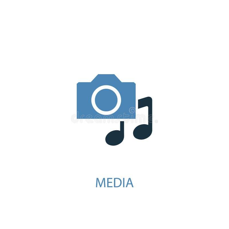 Media concept 2 colored icon. Simple. Blue element illustration. media concept symbol design. Can be stock illustration