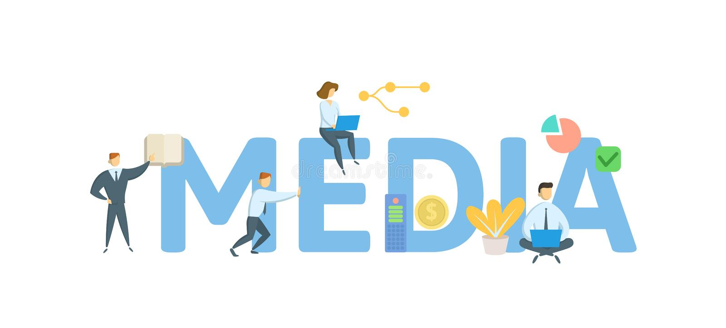 media Concept met sleutelwoorden, brieven en pictogrammen Vlakke vectorillustratie Ge?soleerdj op witte achtergrond vector illustratie