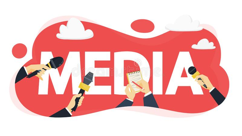 Media concept. Press with microphone take interview. For news. Idea of broadcasting. Newspaper, TV and radio. Flat vector illustration royalty free illustration