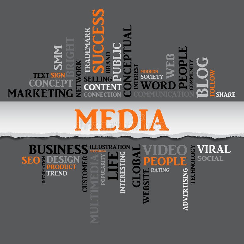 Media concept related words. Vector. Media concept related words in tag cloud with different association internet and business terms. The effect of torn paper vector illustration