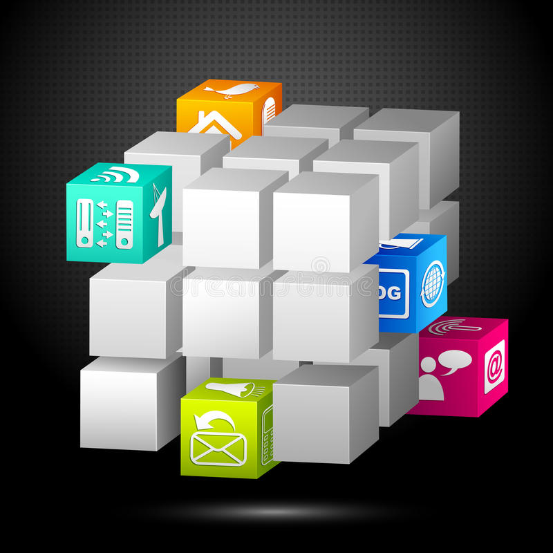 Media Cube. Vector illustration of 3d cube block with media icon royalty free illustration