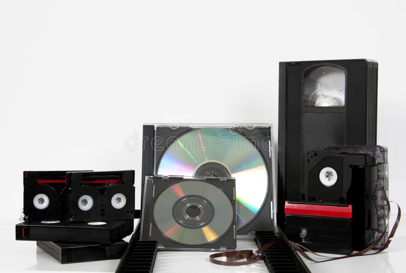 Media de bandencd dvd mm van de opslag videocassette stock afbeelding