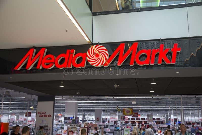 Media de opslagteken van Markt stock foto