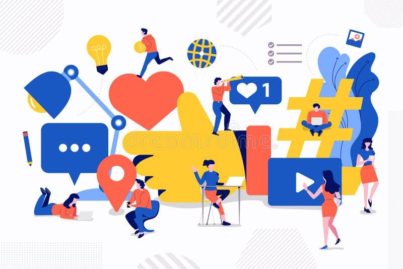 Media de Social de travail d'équipe illustration de vecteur