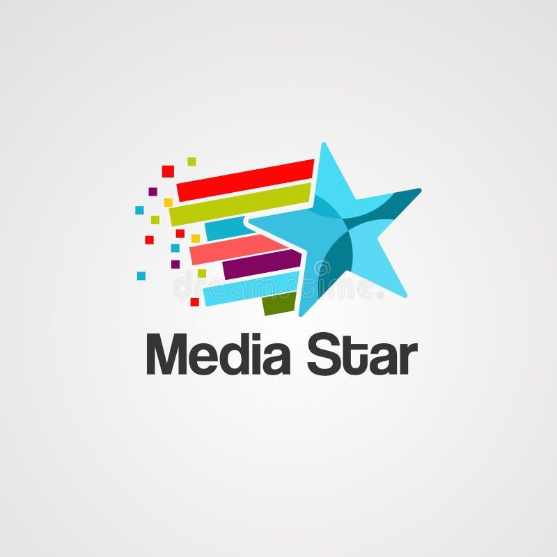Media de vector, het pictogram, het element, en het malplaatje van het sterembleem vector illustratie