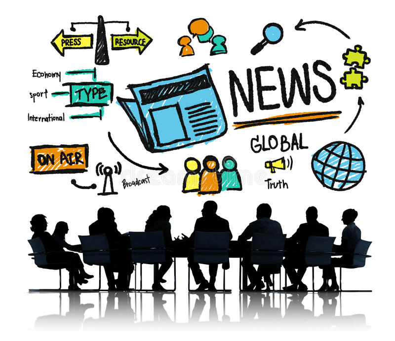 Media dell'aggiornamento della pubblicazione di informazioni di giornalismo di notizie fotografia stock libera da diritti