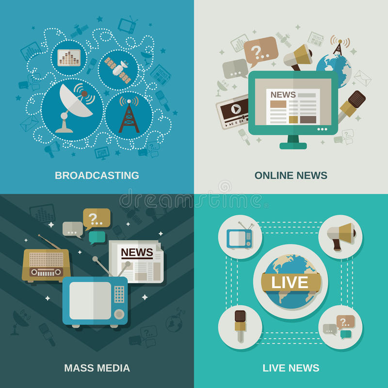 Media Design Concept. Mass media design concept set with broadcasting online news live news flat icons vector illustration stock illustration