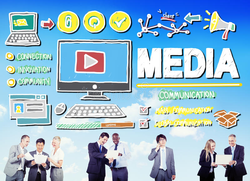 Media Devices Mess Communication Multimedia Concept royalty free illustration