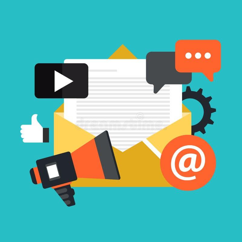 Media die concept op de markt brengen E-mailmarketing en bulletin Vlakke vector vector illustratie