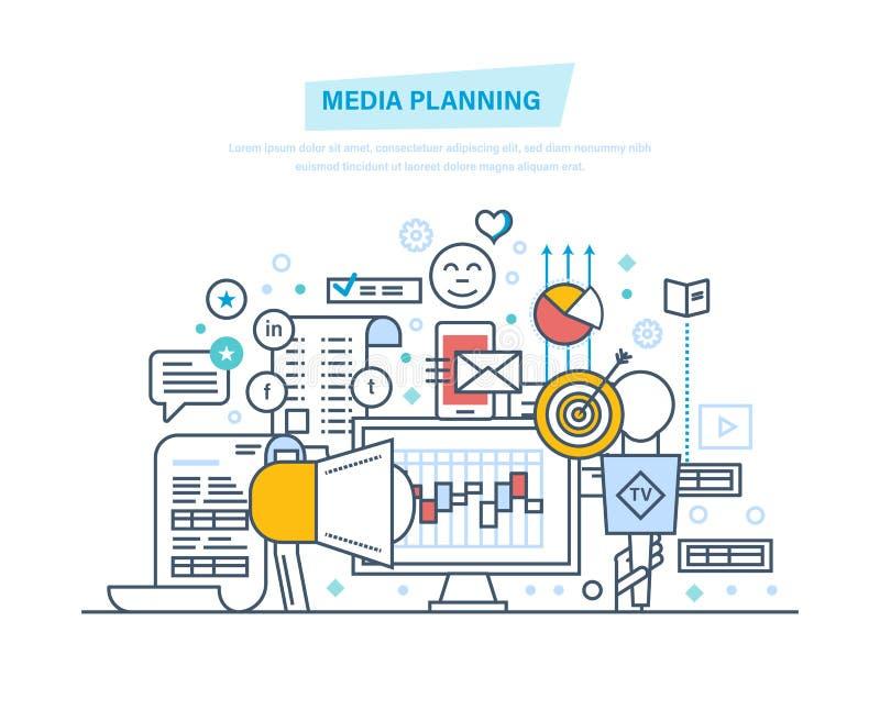 Media die, digitale marketing, bevordering in sociaal netwerk, online zaken plannen vector illustratie