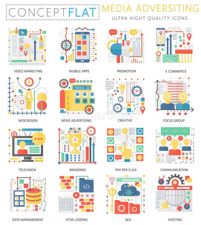 Media die van het Infographics de miniconcept pictogrammen en digitale marketing voor Web adverteren De kleuren conceptuele vlakt vector illustratie