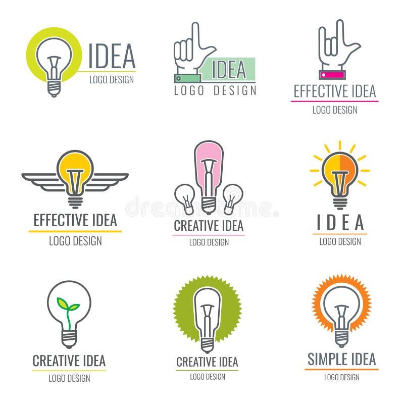 Media digitali di idea creativa, raccolta astuta di logo di vettore di concetto del cervello illustrazione di stock
