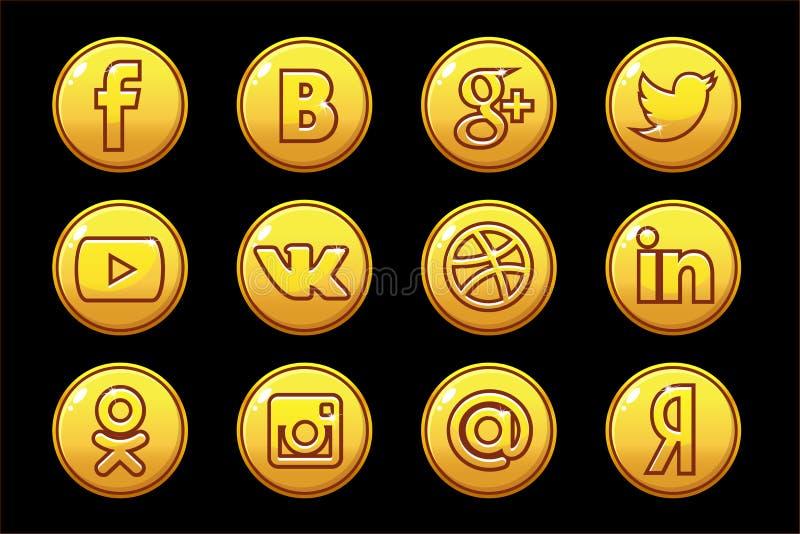 Media dorati del sociale delle icone Bottoni del cerchio messi illustrazione vettoriale