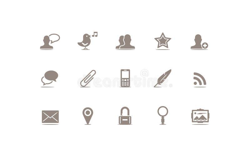 Media e ícone sociais do blogue ilustração stock