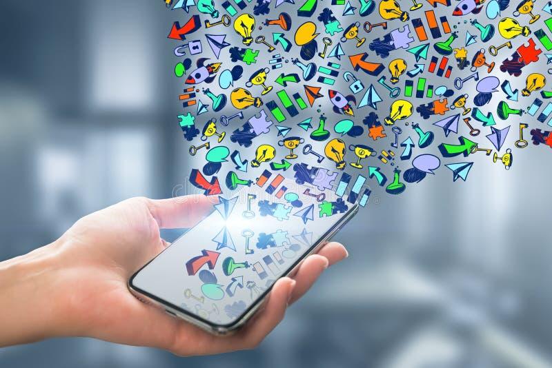 Media e conceito sociais de uma comunicação imagens de stock royalty free