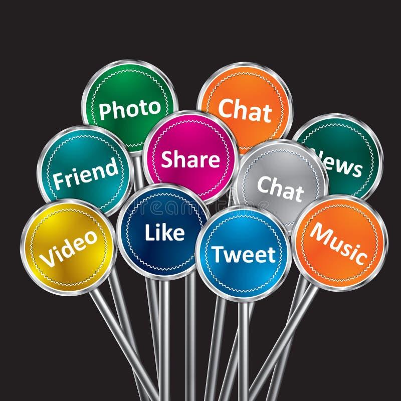 Media e concetto sociali della rete illustrazione vettoriale