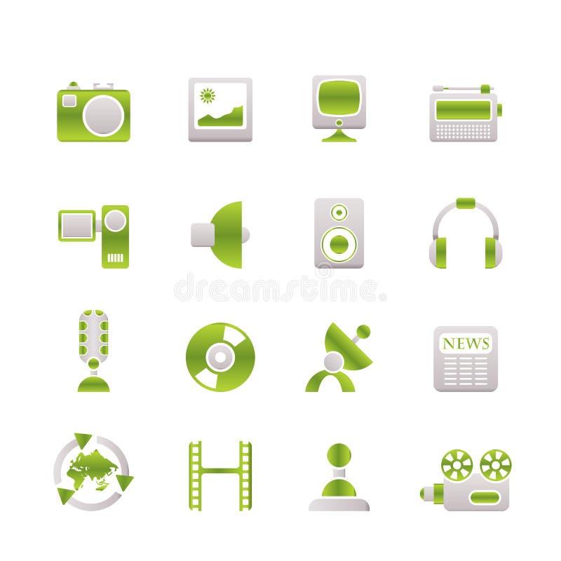 Media e iconos del equipo de hogar stock de ilustración