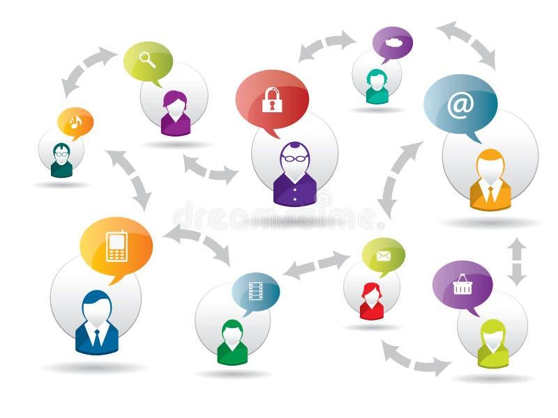 Media e negócio sociais do Internet ilustração do vetor