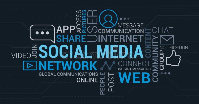 Media e nuvola sociali dell'etichetta delle reti illustrazione di stock