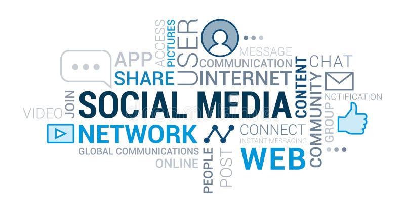 Media e nuvola sociali dell'etichetta delle reti illustrazione vettoriale