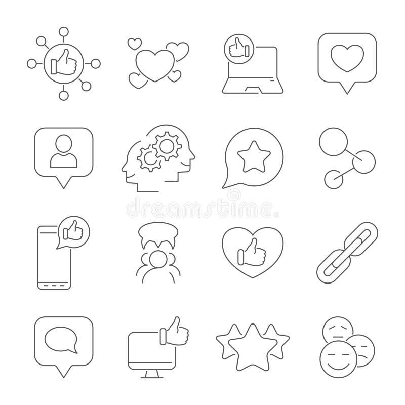 Media ed icone sociali della rete sociale Le icone di vettore hanno impostato Colpo editabile royalty illustrazione gratis