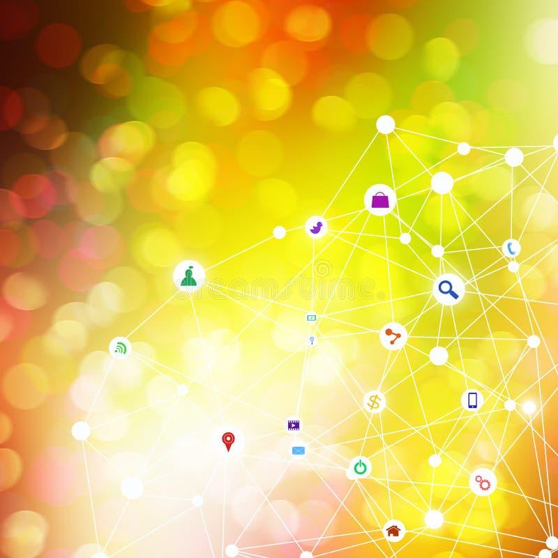 Media ed icone sociali di tecnologia su fondo astratto illustrazione di stock