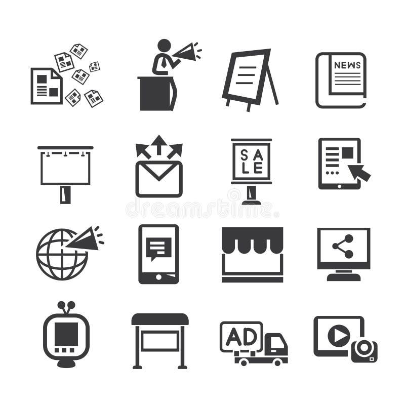 Media ed insieme dell'icona di pubblicità royalty illustrazione gratis