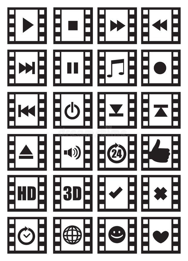 Media en Audiosymbolen op de Negatieve Reeks van het Film Vectorpictogram royalty-vrije illustratie