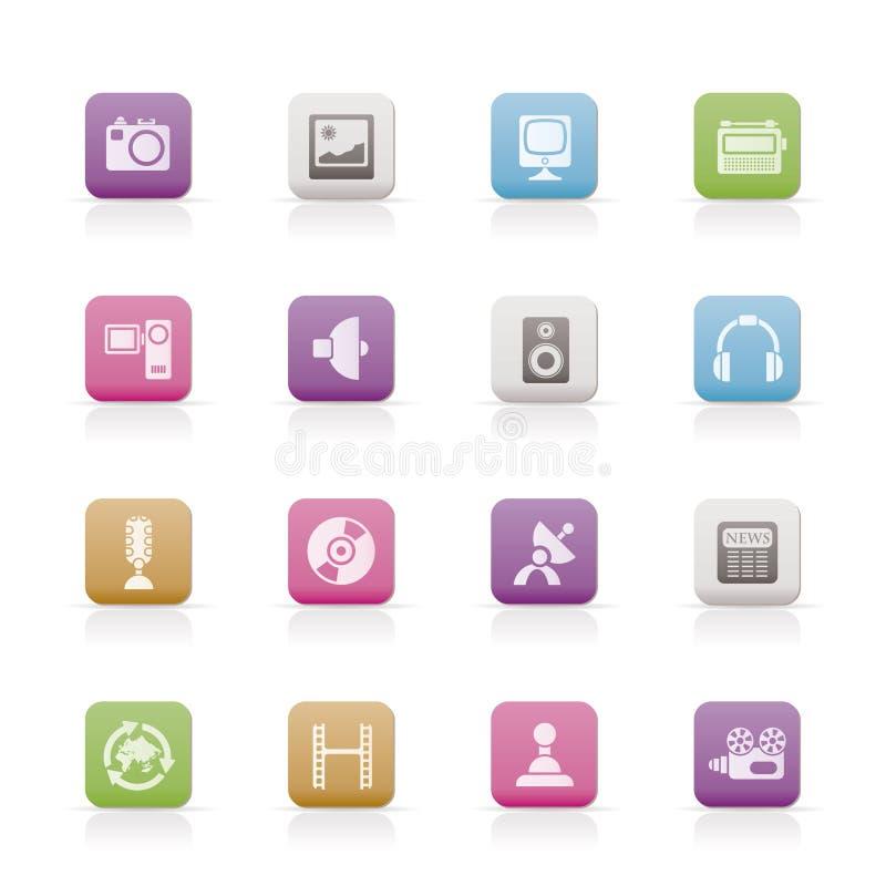 Media en huishoudenapparatuur pictogrammen stock illustratie