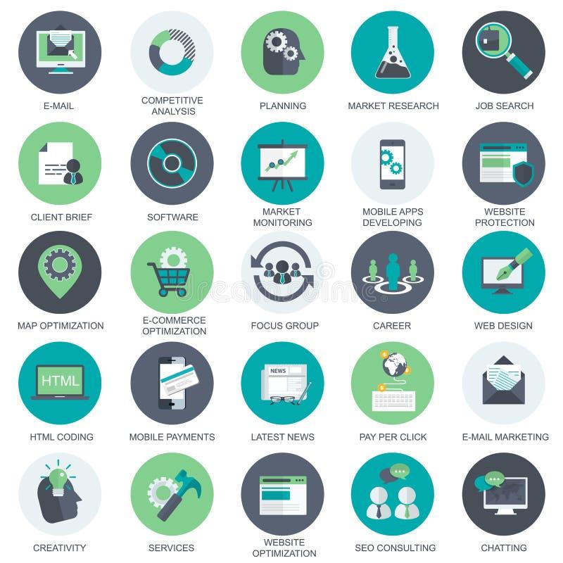 Media en Reclamepictogrammen De pictogrammen voor e-mail, die betalen per klik, mobiele toepassingen op de markt brengen Vlakke v vector illustratie