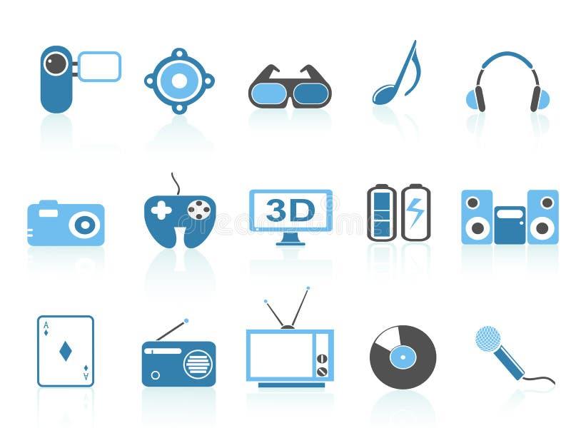 Media Entertainment Icons ,blue Series Stock Photos