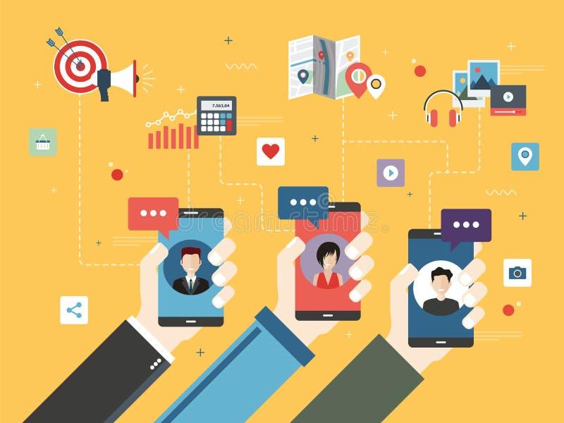 Media et communication sociaux dans le téléphone intelligent illustration de vecteur