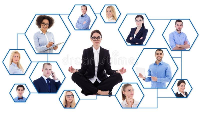 Media et concept sociaux d'effort - jeune femme fatiguée d'affaires et image stock