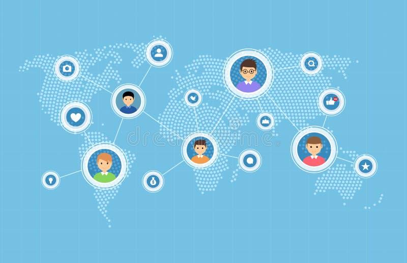 Media et concept sociaux de carte de connexion réseau Illustration sociale de réseau de personnes de communication du monde illustration stock