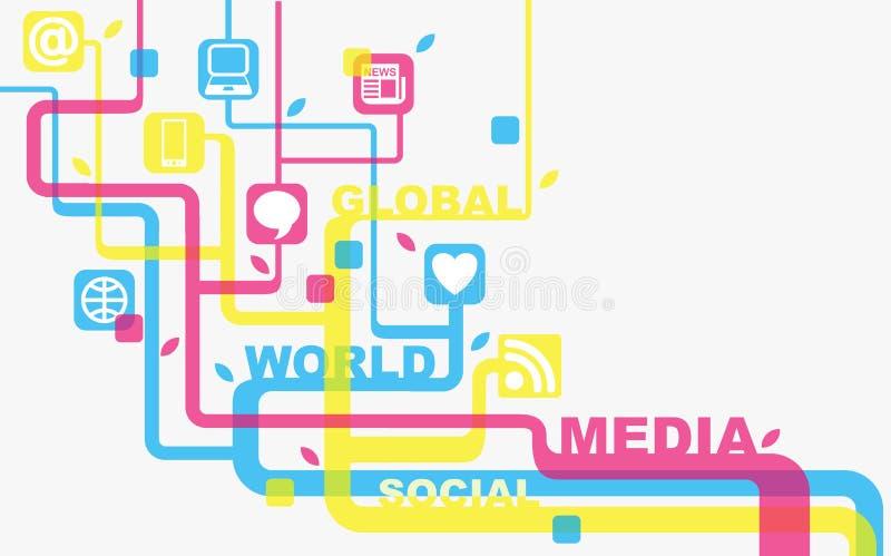 Media et milieu social illustration stock