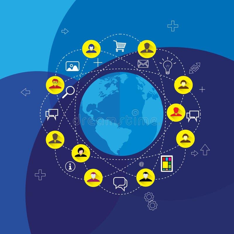 Media et vecteur sociaux de concept de réseau avec les icônes plates de conception illustration libre de droits