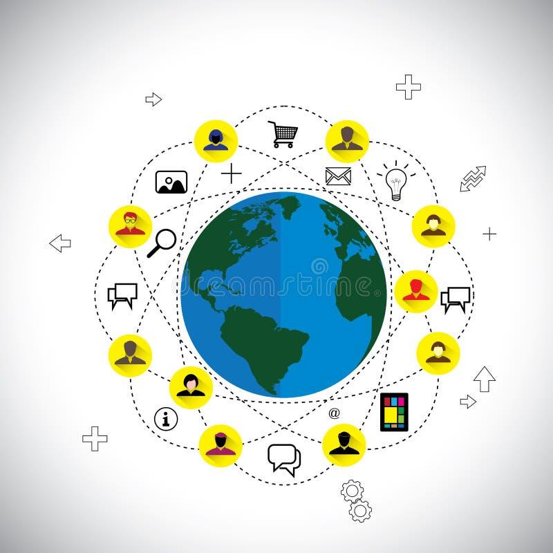 Media et vecteur sociaux de concept de réseau fait d'icônes plates de conception illustration libre de droits