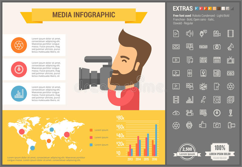 Media flat design Infographic Template. Media infographic template and elements. The template includes illustrations of hipster men and huge awesome set of thin vector illustration