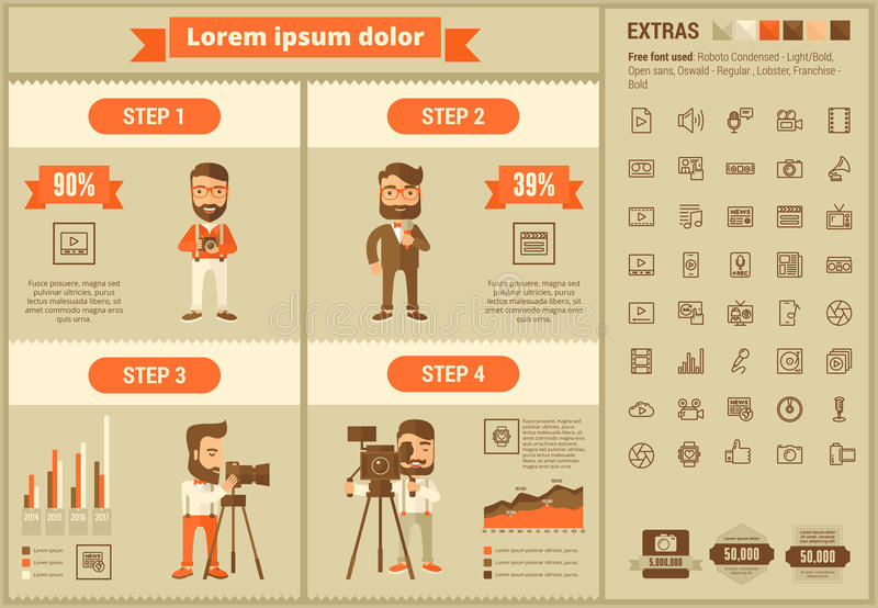Media flat design Infographic Template. Media infographic template and elements. The template includes illustrations of hipster men and huge awesome set of thin royalty free illustration