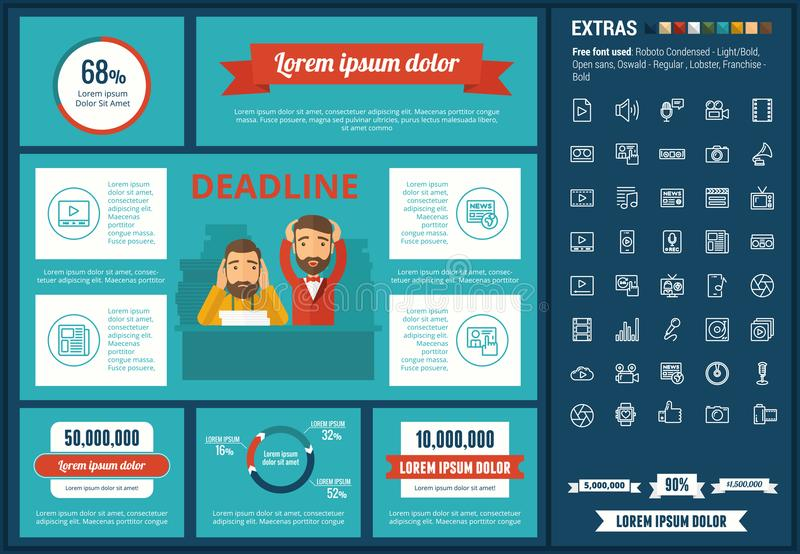 Media flat design Infographic Template. Media infographic template and elements. The template includes illustrations of hipster men and huge awesome set of thin stock illustration