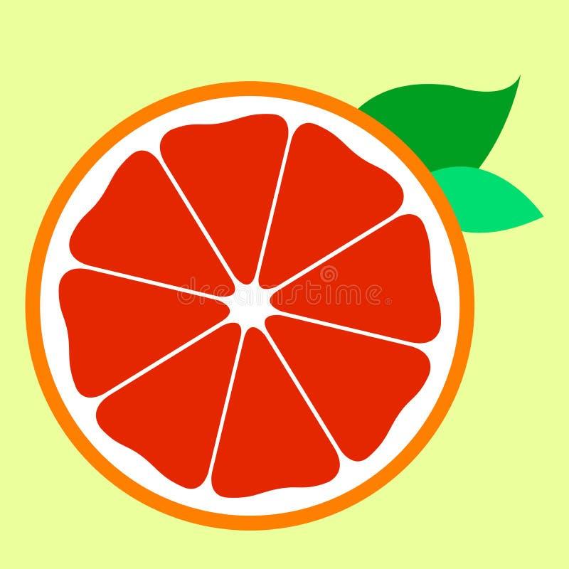 Media fruta anaranjada roja dulce del icono libre illustration
