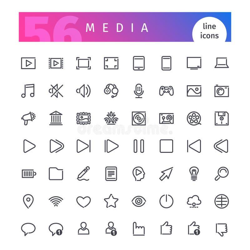 Media geplaatste lijnpictogrammen vector illustratie